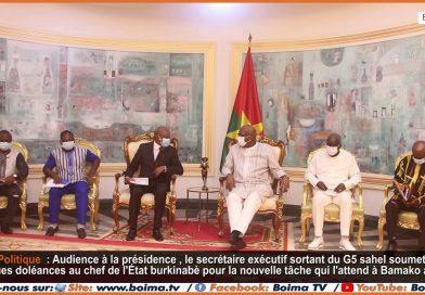 Le secrétaire exécutif du G5 sahel, en fin de mission au Burkina Burkina Faso reçu en audience a la présidence du faso